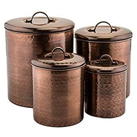 copper kitchen canister sets amazon com old dutch 4 piece hammered canister set antique copper kitchen dining