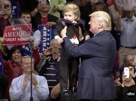 trump child donald kid dressed rally impersonator pennsylvania impersonating screenshot via became star businessinsider