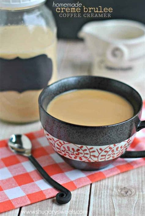 My recipe for homemade coffee creamer in 3 flavors has been highly requested, and for good reason — it seems we all love coffee! Easy homemade Creme Brulee Coffee Creamer recipe