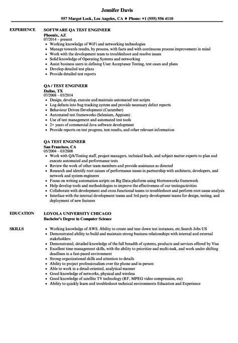 qa test engineer resume sles velvet