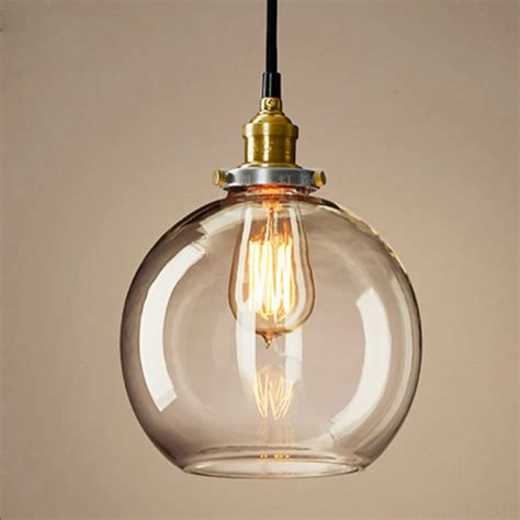 round glass pendant light antique round ceiling l crystal clear glass cover
