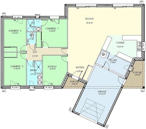 plan de maison 5 chambres plain pied gratuit construction 86 fr gt plan maison plain pied de type 5