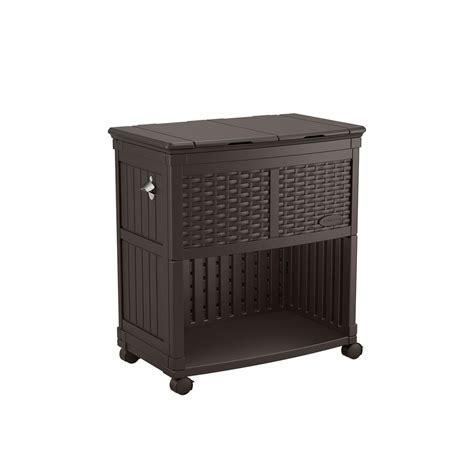 Suncast Patio Storage And Prep Station Bmps6400 by Suncast Entertaining Cooler Station Bmdc6200 The Home Depot