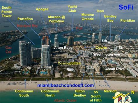 south   condo map miami beach condo  sale florida