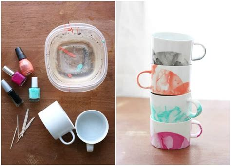 diy marbled mugs  nail polish diycandycom