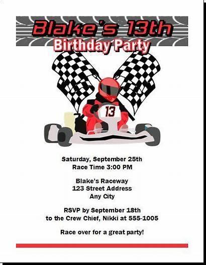 Kart Birthday Party Invitation Templates Invitations Racer