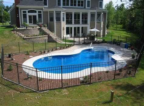 Backyard Pool Fence Ideas by Inground Pools Pool Shapes Pool Styles Northeastern