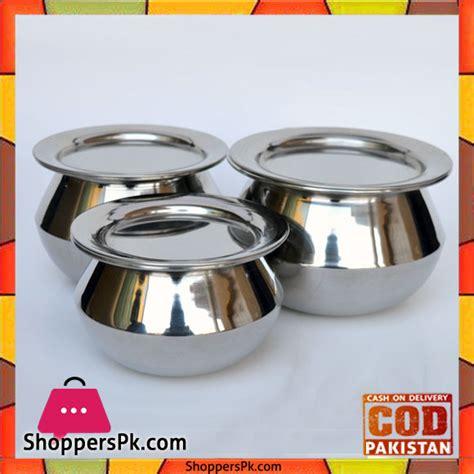 buy stainless steel handi set  pieces   price  pakistan