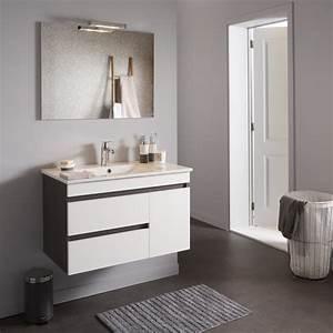 achat meuble de salle de bain decor wenge avec miroir With salle de bain design avec plaque décorative métal