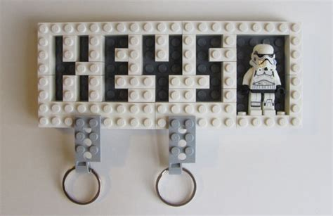 porte cle lego wars wall mounted key holder with valet key chainsbuilt with lego
