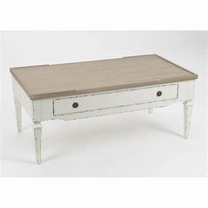 table basse gustave 110 cm en bois naturel et blanc With meuble 80x80x40 1 table basse en bois meuble salon pier import