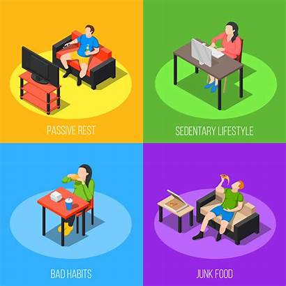 Sedentary Lifestyle Concept Vector Clipart Freepik Infographics