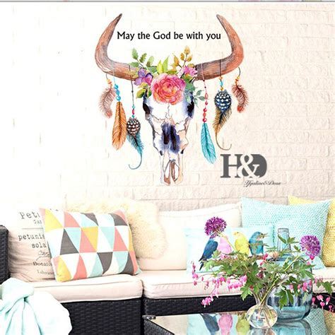 animal  ox head feather mural removable decal