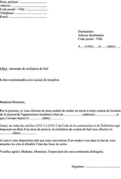 Lettre De Resiliation Bail Meuble Modele De Lettre Resiliation De Contrat De Location