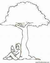 Under Tree Coloring Reading Summer Printable Pages Stump Colouring Drawing Concepts Worksheet Clip Nap Worksheets Concept Trees Printactivities Line Guide sketch template