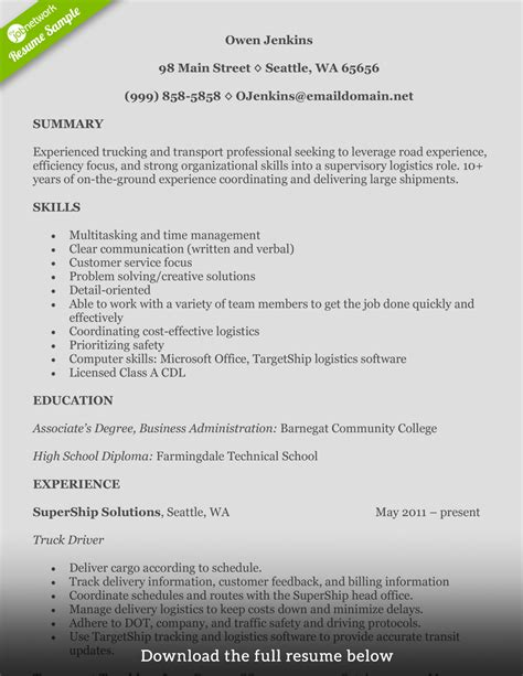 write  perfect truck driver resume  examples