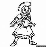 Coloring Peru Wear Ethnic Colouring Thecolor Sheets Traditional Children National sketch template