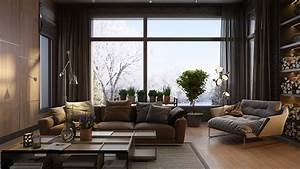 Luxury, Home, Decor, Combined, With, Wooden, And, Brick, Wall, Accent, Design, Which, Presenting, A