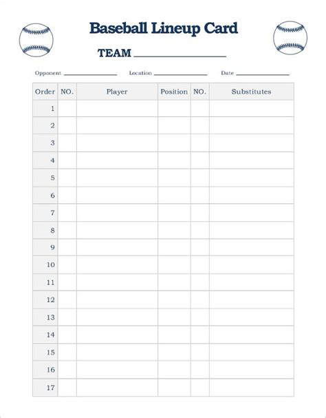 Blank Football Depth Chart Template