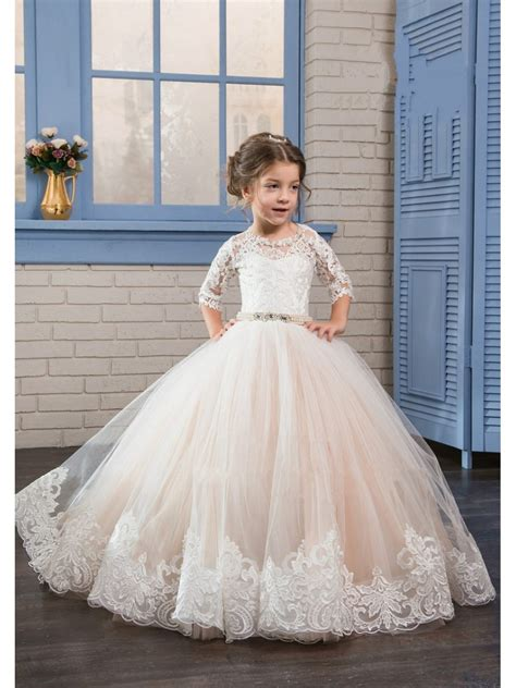 length sleeves lace tulle princess ball gown flower