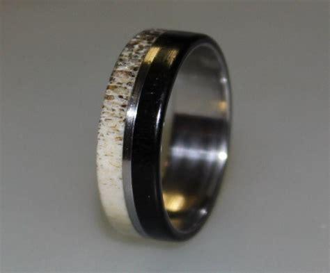 stainless steel ring deer antler inlay ebony wood ring