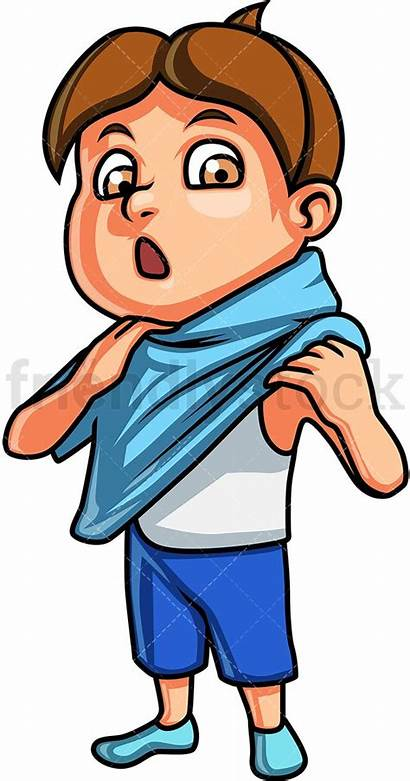 Clothes Boy Changing Cartoon Putting Clipart Daily