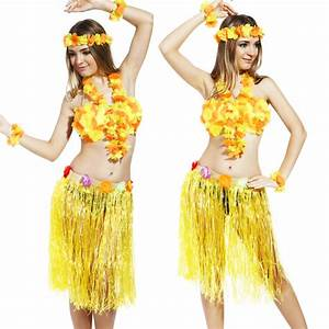 Womens Ladies Hawaiian Luau Costume Hawaii Beach Hula ...