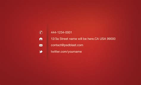 red color business card template psdblast