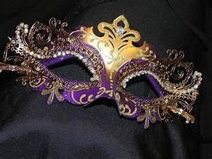 Purple and Gold Metallic Capri Masquerade Mask