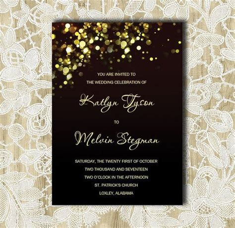 Black and Gold wedding Invitation Gold Sparkles Bubbles Etsy