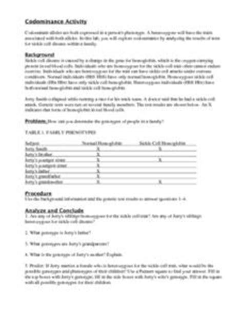 Codominance 9th  Higher Ed Worksheet  Lesson Planet