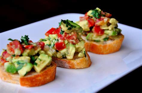 toast canapes guacamole bruschetta
