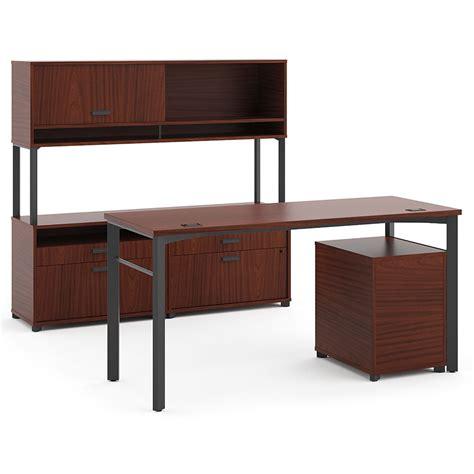 bw it help desk marlin modern executive desk set in chestnut eurway