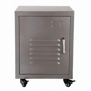 Table De Chevet Metal : table de chevet roulettes en m tal grise l 37 cm loft ~ Melissatoandfro.com Idées de Décoration