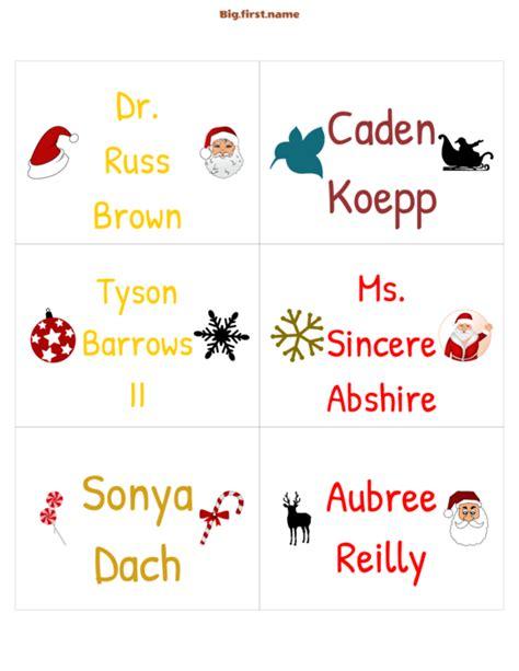 christmas nametags  cards bigfirstname