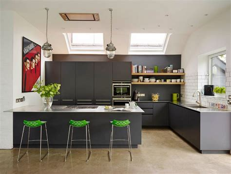 modele de cuisine avec ilot cuisine avec table integrée deco maison moderne