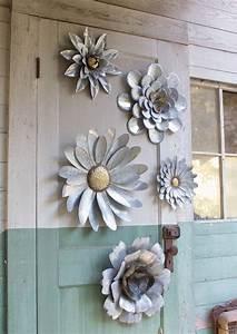 Galvanized metal flower wall art sculptures indoor
