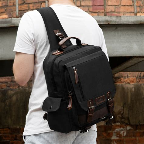 men canvas sling chest bag travel hiking cross body messenger shoulder pack ebay