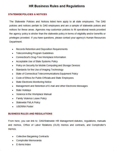 hr rules regulations hr templates  premium