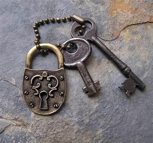 Vintage Skeleton Keys and Medieval Style Brass Lock