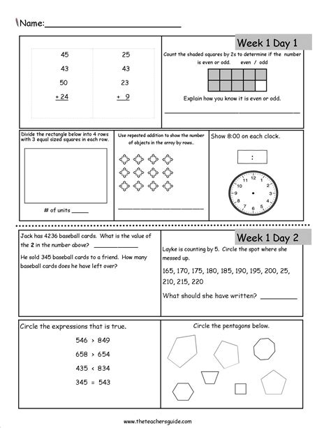 math worksheets  incoming  graders