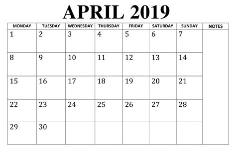 blank april  calendar template calendar template
