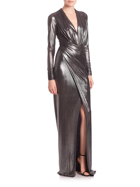 color panel sleeve dress lyst david meister sleeve ruched metallic jersey