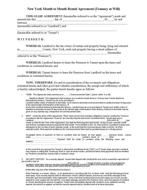 ny residential lease agreement month to month lease new york