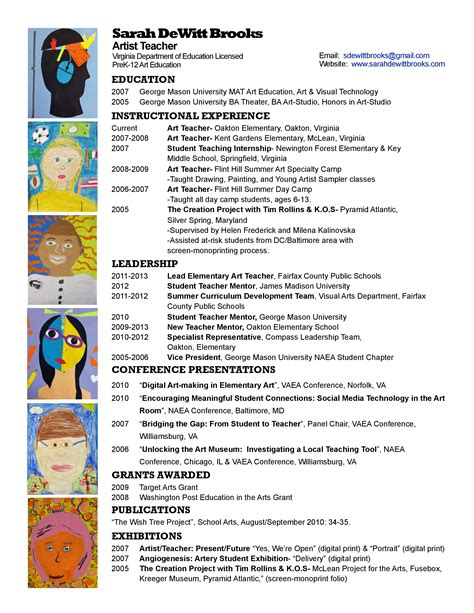 Educator Resumeart Educator Resume by Resume Wonderbrooks
