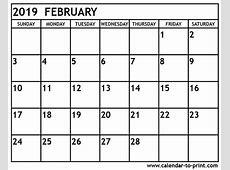 February 2019 Calendar monthly printable calendar
