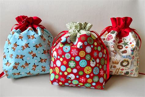 hand made gift bags for christmas handmade by season drawstring gift bag