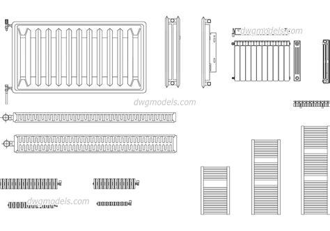 radiators dwg free cad blocks