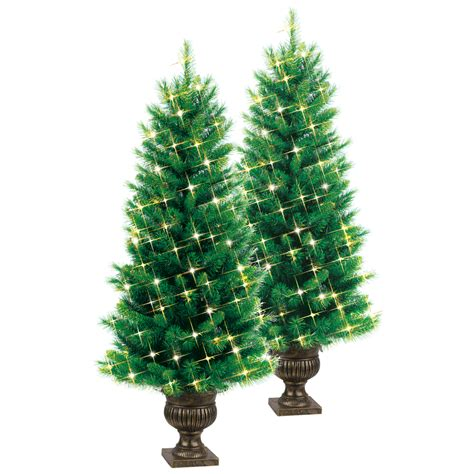 shop ge 2pk 4 ft indoor outdoor pre lite pine artificial