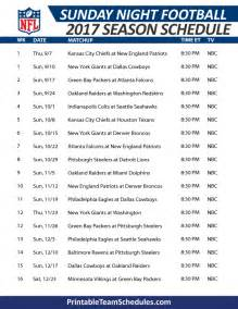 Printable Sunday Night Football Schedule 2017